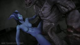 Draenei get creampie by a demon
