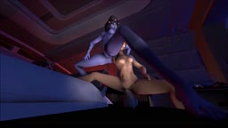 Tracer fists Widowmaker to shoulder while riding horsecock (Overwatch)