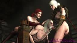 The Witcher - Gerald dominated by Triss & Ciri (Request)