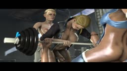 Gym day! Mileena, Cassie, Kitana and Sonya exercise a little