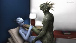 Liara and Argonian Receives a Huge Amount of Love (MrBlister)