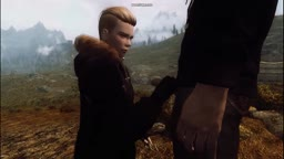 Tomboy Blowjob a guy in the wild (Skyrim)