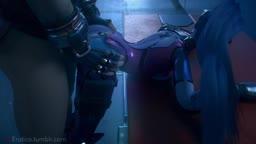 Zarya Gives Widowmaker a Deep Creampie!