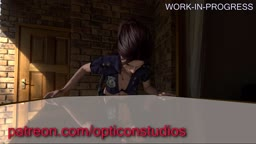 Claire Redfield FUCKED AGAINST TABLE WIP (Plez read my comment)- by OpticonStudios