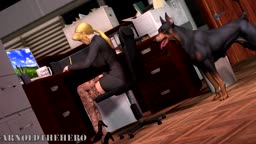Helena having fun in the office