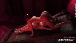 Big tits vampire gives a blowjob to the bondaged futanari babe in a 3d animation